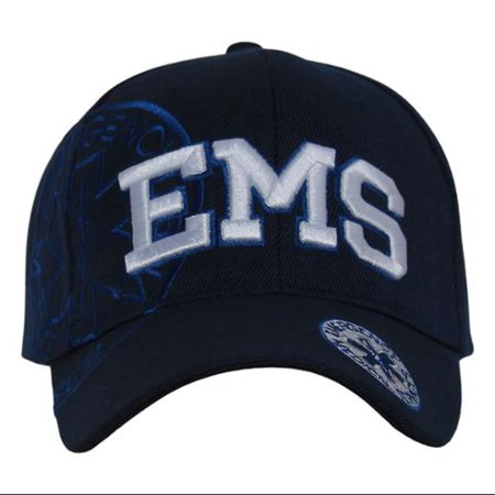 Deluxe Style EMS Emergency Medical Service Paramedics Logo Hat - Navy with Royal