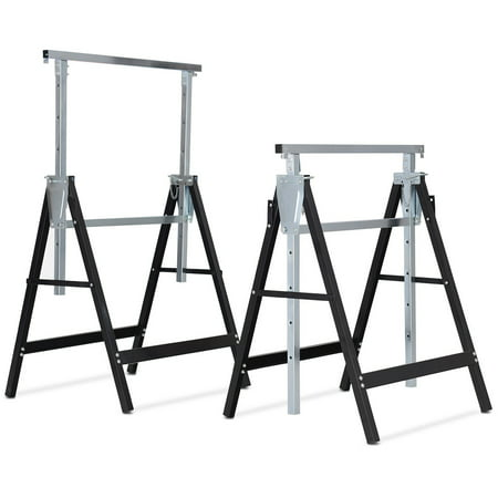 Costway 2 Pack Sawhorse Height Adjustable Folding Heavy Duty Trestle 440 lbs