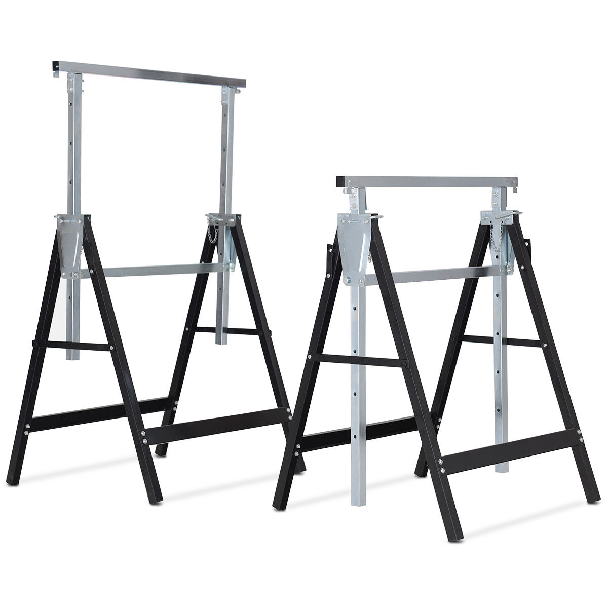 Costway 2 Pack Sawhorse Height Adjustable Folding Heavy Duty Trestle 440 lbs Capacity