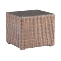 Emerald Home Firenza Coffee Brown and Bronze Outdoor End Table with All Weather Wicker And Glass Top