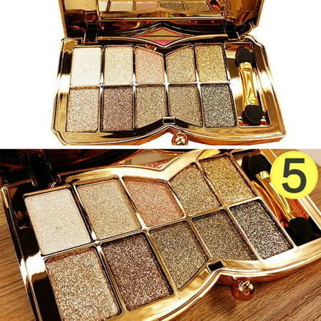 10 Colour Glitter Diamond Eyeshadow Eye Shadow Palette Makeup Cosmetic Brush Set