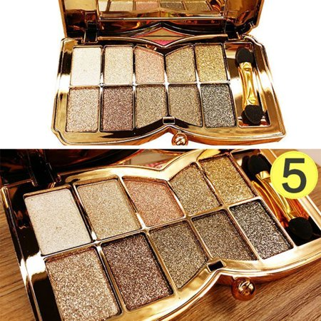 10 Colour Glitter Diamond Eyeshadow Eye Shadow Palette Makeup Cosmetic Brush Set - Halloween Eye Makeup Smokey