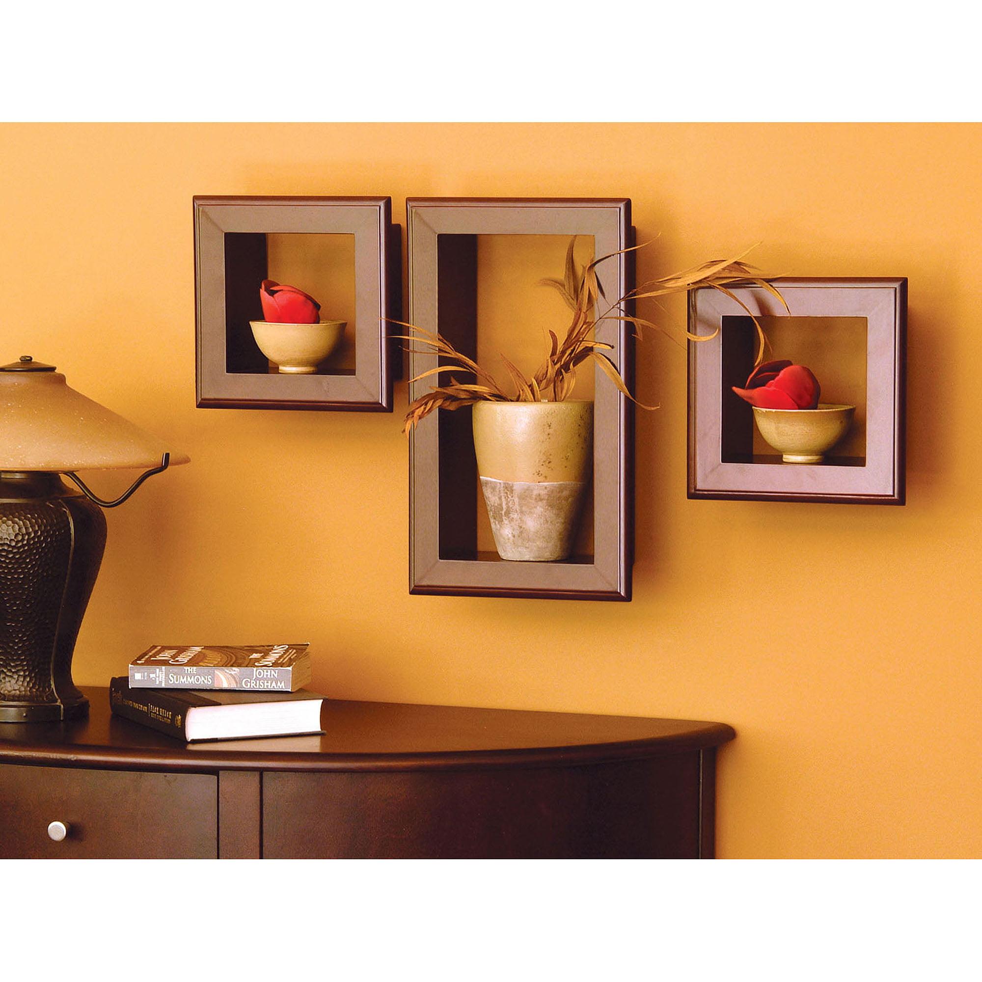 Kiera Grace Espresso Wall Mounted Framed Cubbie Shelves, Set of 3