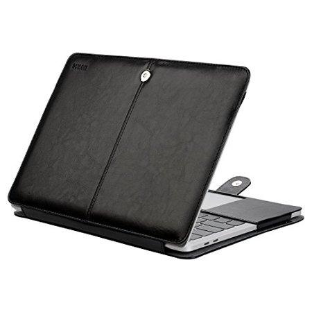 detailing f4b39 645ed Mosiso PU Leather Cover Case for MacBook Air 13 A1932 Retina Display / 2018  2017 2016 MacBook Pro 13 A1989/A1706/A1708,Book Folio Cover Case, Black