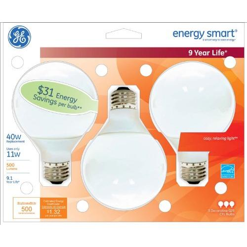 Ge Energy Smart 11w G25 Bulb - 11 W - 120 V Ac - Globe - White - E26 Base - 10000 Hour - 3/pack (85392)