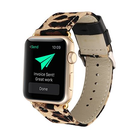 Conelelife For Apple Watch Band 42mm, Leopard Print Denim Replacement Band Strap with Stainless Steel Metal Clasp for Apple Watch Series 3, Series 2, Series 1, Sport, Edition (Leopard) Conelelife For Apple Watch Band 42mm, Leopard Print Denim Replacement Band Strap with Stainless Steel Metal Clasp for Apple Watch Series 3, Series 2, Series 1, Sport, Edition (Leopard)