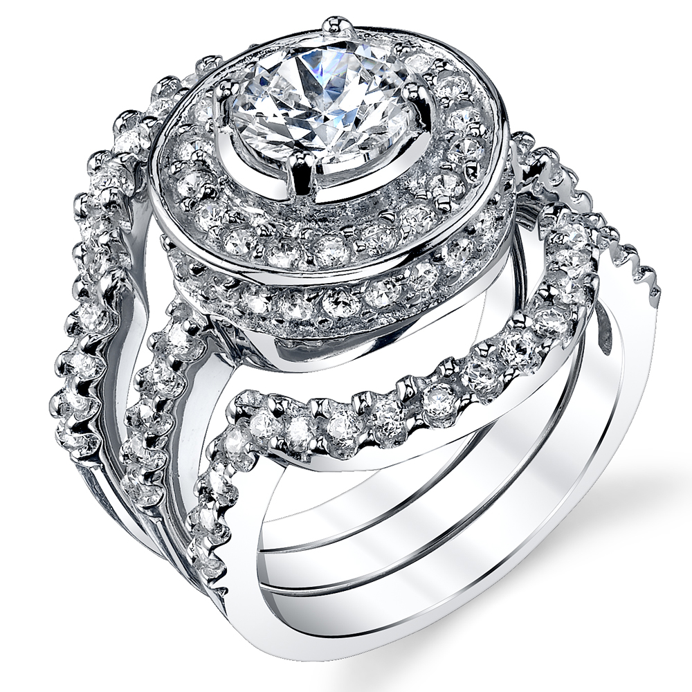1.25 Carat 3 Piece Sterling Silver 925 Engagement Ring wedding Bridal Set Bands with Cubic Zirconia