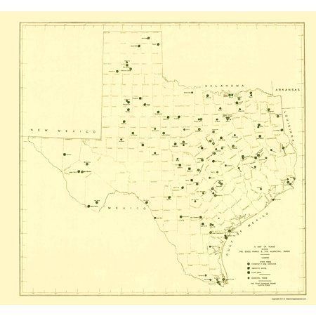 The Map Of Texas State.Old State Map Texas State And Municipal Parks 1936 23 X 24