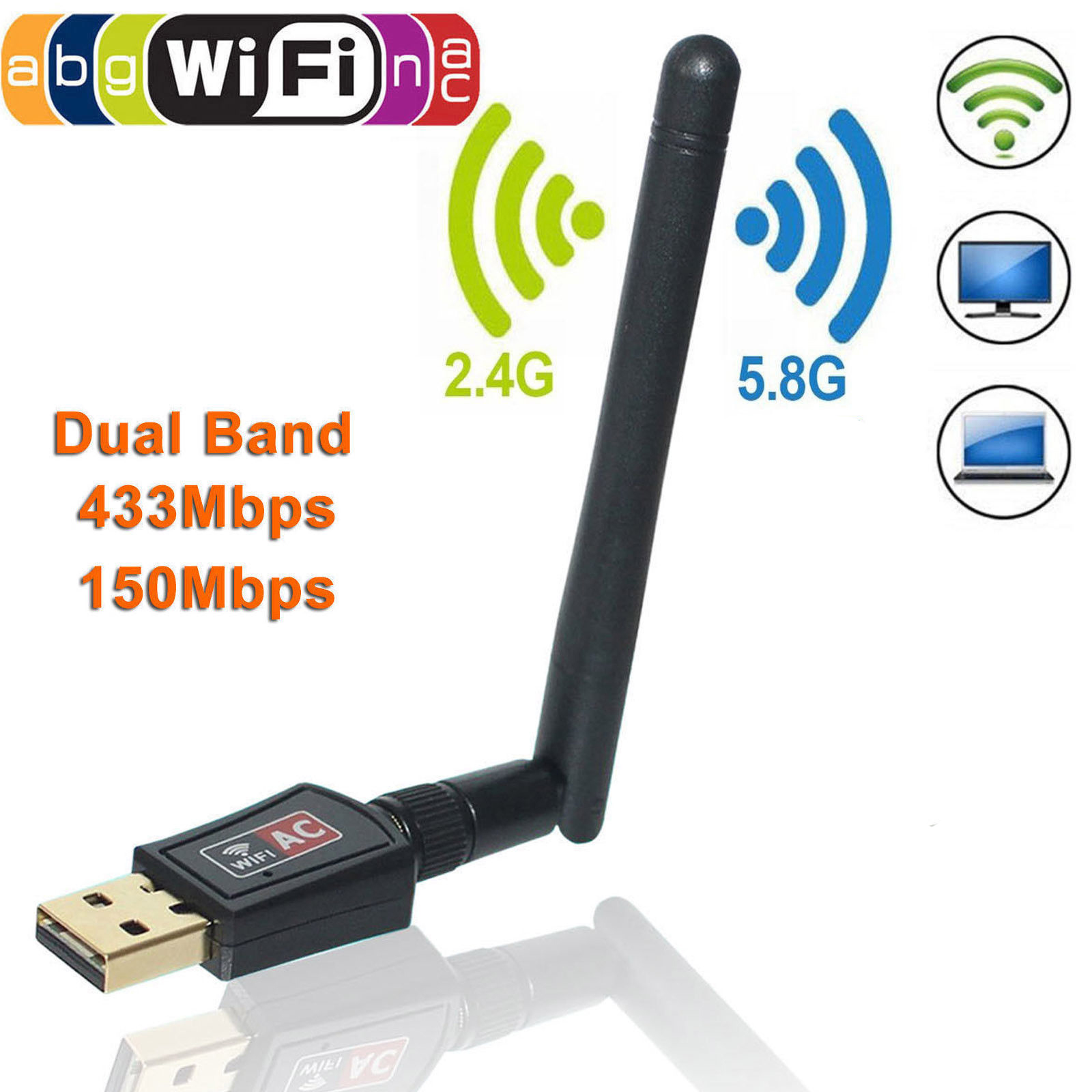 AC600 USB WiFi Adapter 600Mbps Dual Band USB WiFi Dongle Wireless Network Adapter with 3DBi High Gain Antenna up to 5G 433Mbps+2.4G 150Mbps Support IEEE 802.11 A/B/G/N/AC Ethernet