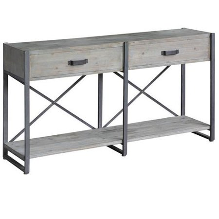 Union Rustic Bauer Iron Junction 2 Drawer Rustic Console Table