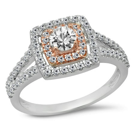Dazzlingrock Collection 0.95 Carat (Ctw) Two Tone Rose Gold Plated 14K White Diamond Bridal Halo Ring 1 CT, White Gold, Size 6.5 14k Two Tone Setting