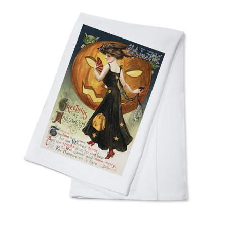 Salem, Massachusetts - Halloween Greeting - Witch Dancing and Pumpkin - Vintage Artwork (100% Cotton Kitchen Towel) - Easy Potluck Dishes Halloween
