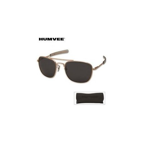 HMV-57B-GOLD Humvee Pilot 57MM Gold Sunglasses Multi-Colored ()
