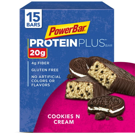 PowerBar Protein Plus Bar, Cookies & Cream, 20g Protein, 15 Ct