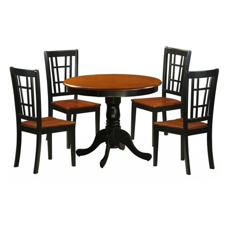 East West Furniture Antique 5 Piece Pedestal Round Dining Table Set with Nicoli Wooden Seat Chairs