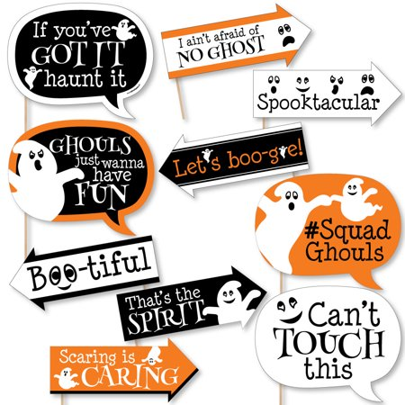 Funny Spooky Ghost - Halloween Party Photo Booth Props Kit - 10 Piece - Halloween Photos Funny