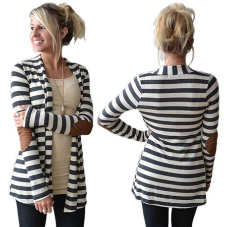 Womens Stripe Cardigan Coat Sweater Collarless Long line Slim Sweatershirt Outwear Long Sleeve Tops