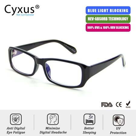 Cyxus Blue Light Blocking Computer Glasses Anti Eye Strain UV400, Rectangle Black frame Reading (Eye Strain Glasses Computer)