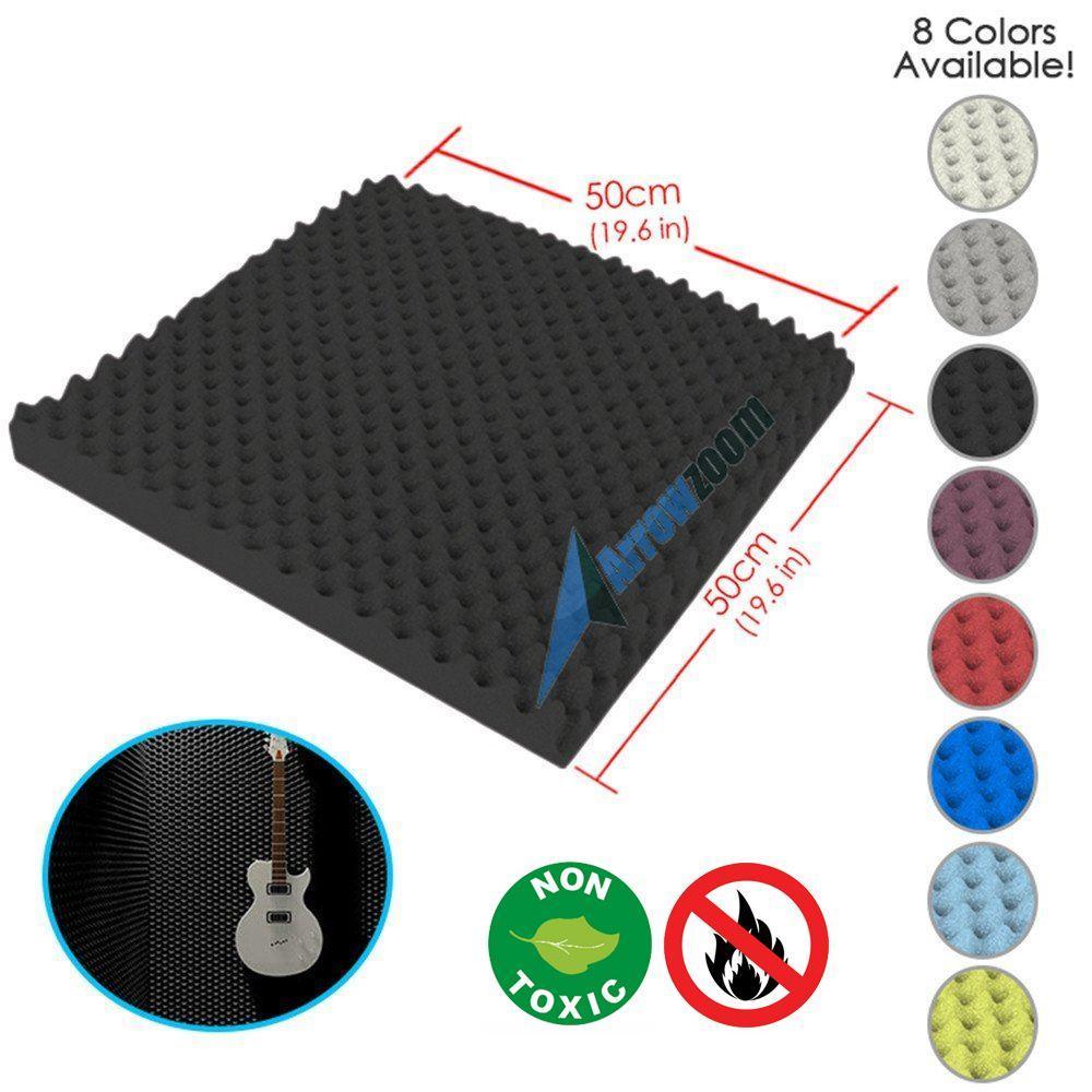 "Arrowzoom New Black 19.6"" x 19.6"" x 1.1"" Convoluted Egg Crate Tile Acoustic Studio Sound Absorption Foam"