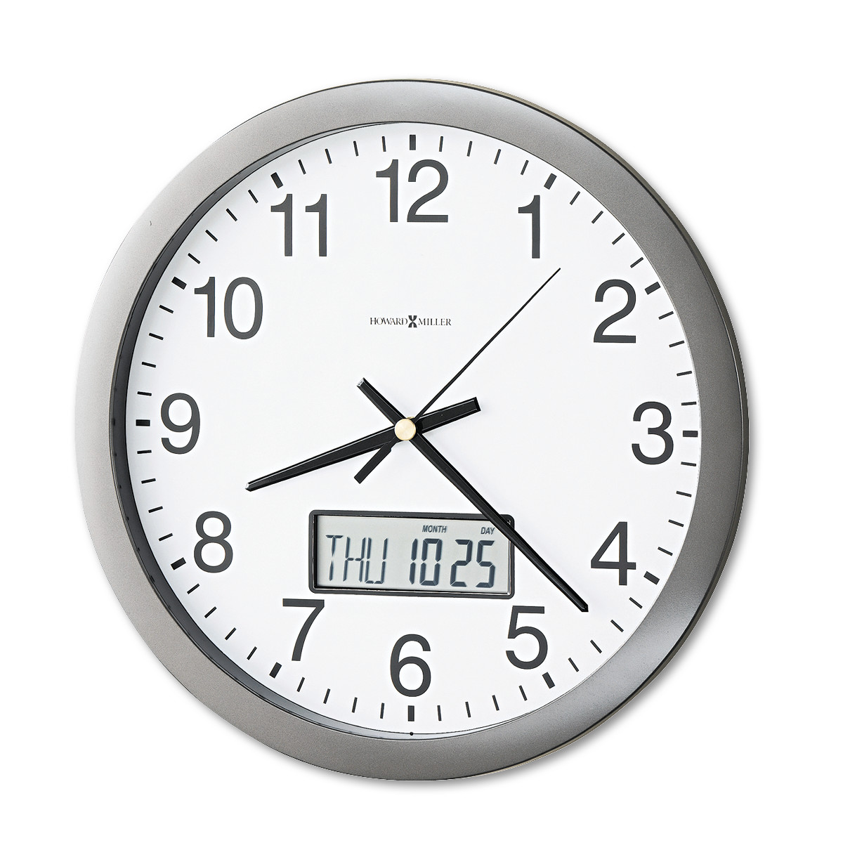 Howard Miller Chronicle Wall Clock with LCD Inset, 14\ by HOWARD MILLER CLOCK CO.