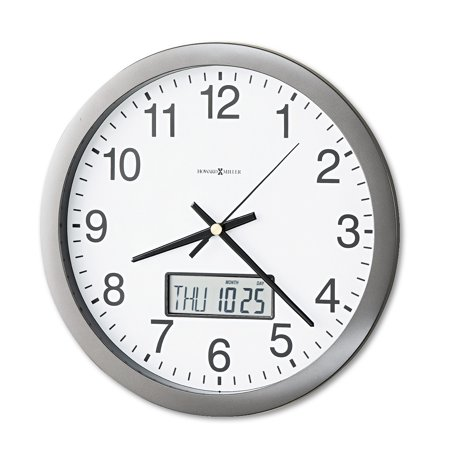 Howard Miller Chronicle Wall Clock with LCD Inset, 14