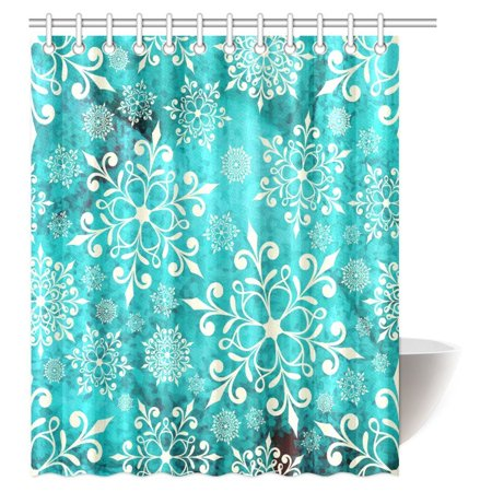 New Theme Collection - MYPOP Festive New Year Decor Collection, Vintage Celebration Decor Winter Wonderland Themed Snowflakes Fabric Bathroom Set with Hooks, 60 X 72 Inches