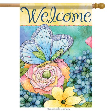- Butterfly Bloom Spring Welcome House Flag Floral Double Sided 28