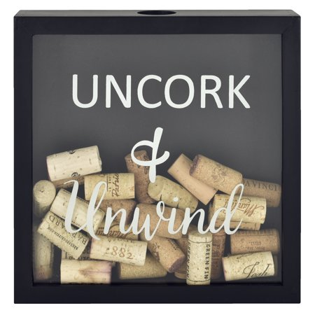 "Mainstays 10"" x 2"" x 10"" Tabletop Uncork and Unwind Cork Shadowbox, Black"
