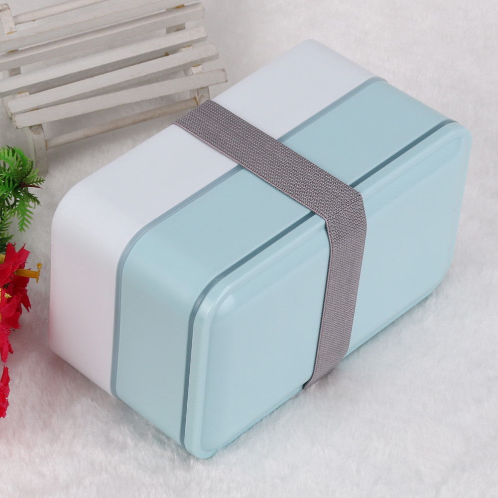Portable 2 Layers Bento Lunch Box Plastic Food Container Lunch Container Blue
