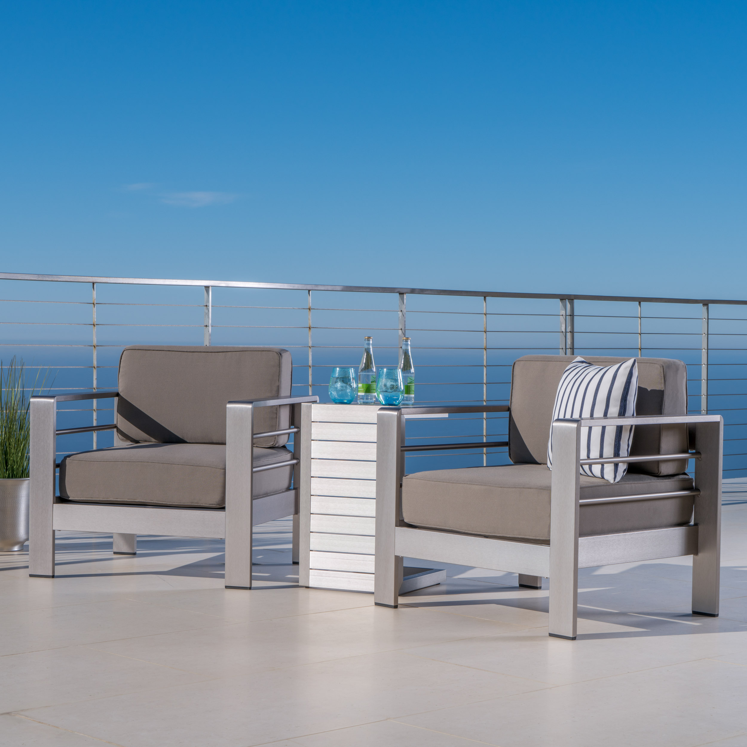 Miller Outdoor Aluminum Club Chairs with Side Table, Khaki, Silver
