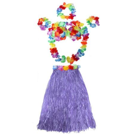 Meigar Hula skirt with flowers ,6Pcs Adult Hawaiian Grass Skirt Flower Hula Lei Garland Wristband Dress Costume