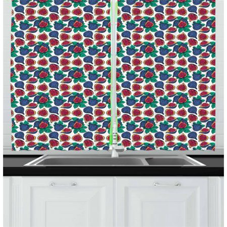 Fig Curtains 2 Panels Set, Hand Drawn Style Pattern of Ripe and Juicy Fig Fruit Cut in Half with Green Leaves, Window Drapes for Living Room Bedroom, 55W X 39L Inches, Multicolor, by