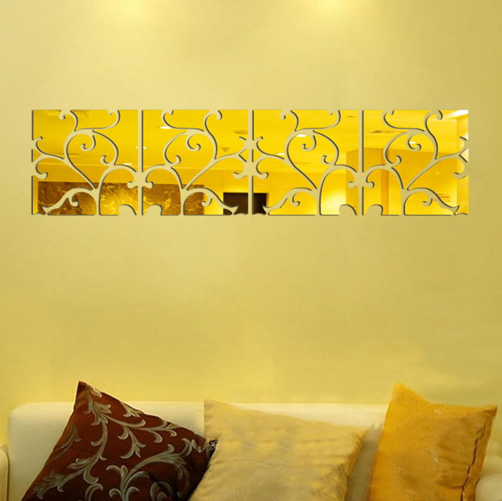 16pcs DIY 3D Acrylic Mirror Decal Mural Wall Sticker Home Decor Removable Gold