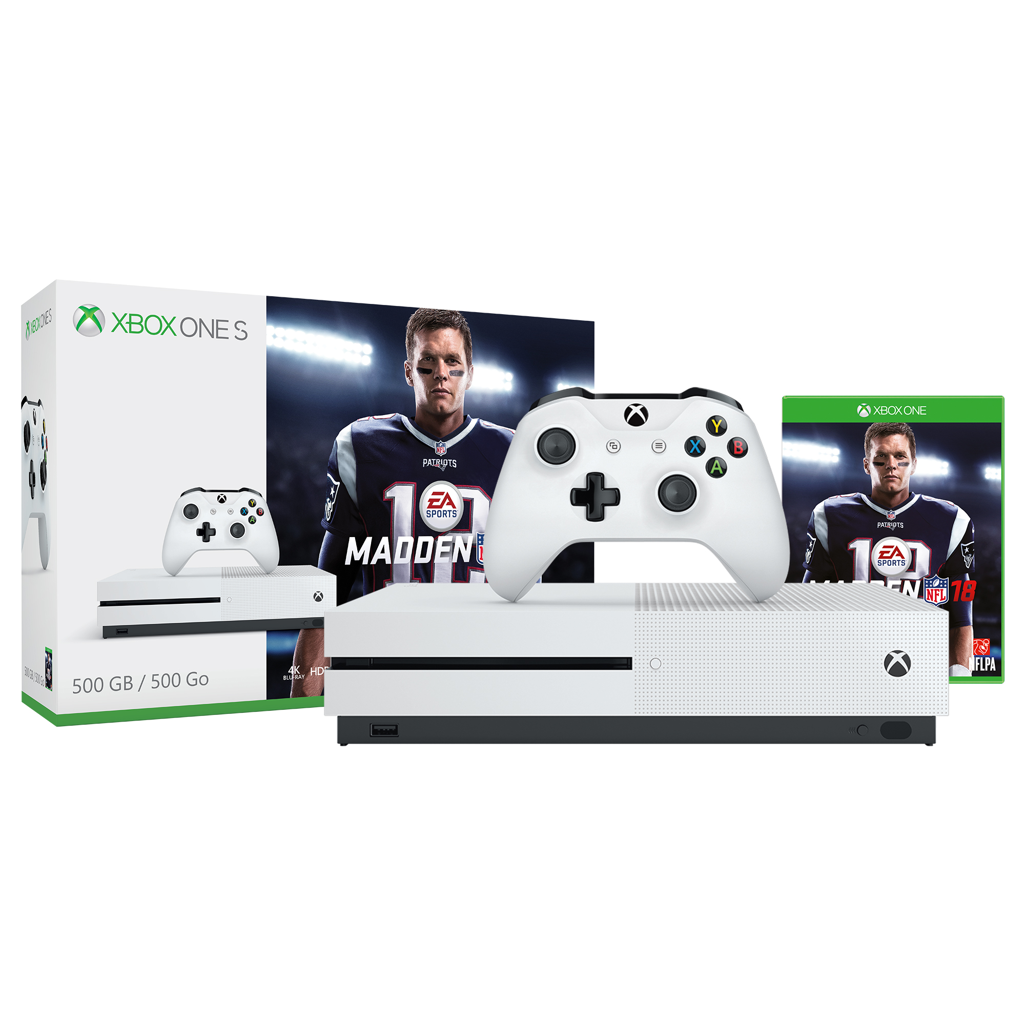 Microsoft Xbox One S (500GB) Madden NFL 18 Bundle, White, ZQ9-00317