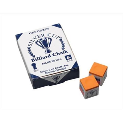 CueStix CHS12 ORANGE Silver Cup Chalk - Box of 12 Orange