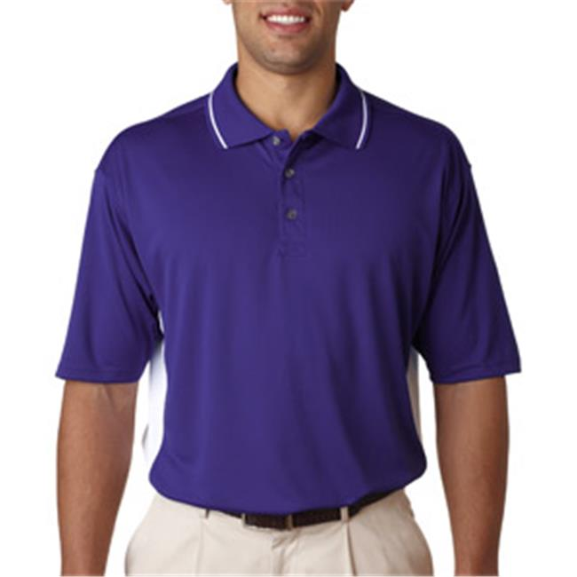 UltraClub 8406 Mens Cool & Dry Sport 2-Tone Polo - Purple & White, Large