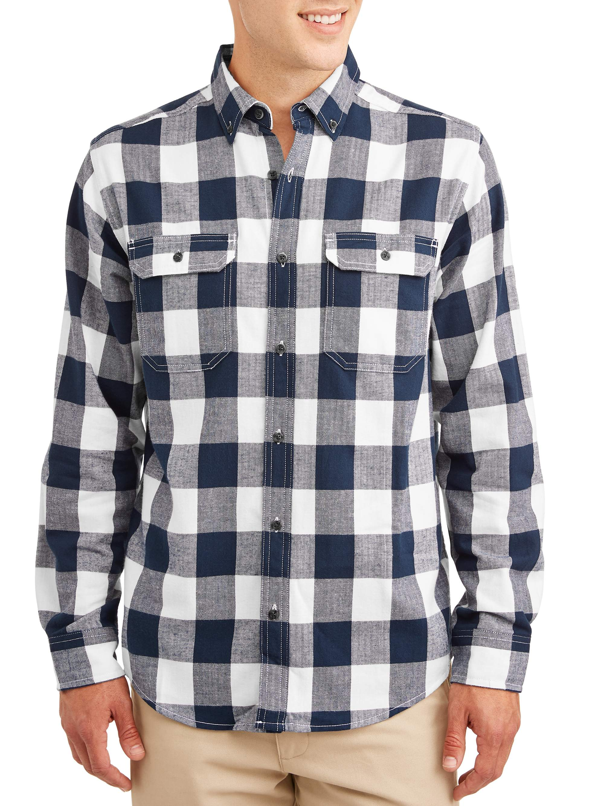 George men big and tall gray and black plaid button up dress shirt