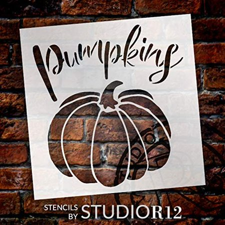 Pumpkins Garden Marker Stencil by StudioR12   DIY Spring Backyard Outdoor Home Decor   Vegetable Plant Label   Craft & Paint Rustic Wood Signs   Reusable Mylar Template   Select Size (9 x 9 inch) Disc Label Templates