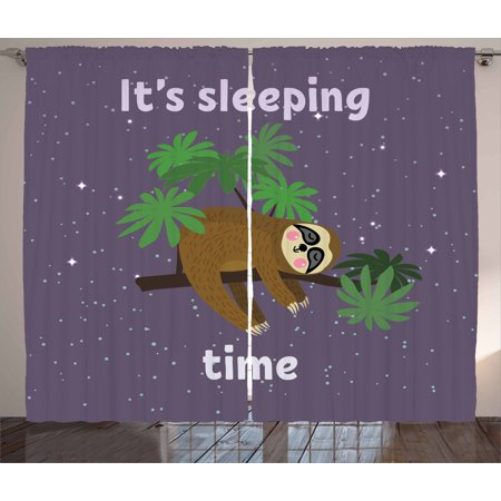 Jungle Themed Curtains (Sloth Curtains 2 Panels Set, Cute Cartoon Character Sleeping on Branch Jungle Animal in Night Sky Kids Theme, Window Drapes for Living Room Bedroom, 108W X 63L Inches, Plum Brown)