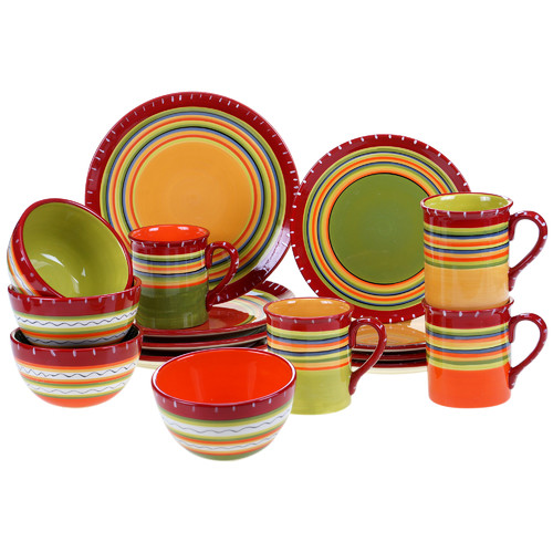 Certified International Hot Tamale 16 Piece Dinnerware Set  sc 1 st  Walmart.com : plate sets walmart - pezcame.com