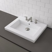 DecoLav Corrina Classically Redefined Ceramic Rectangular Vessel Bathroom Sink with Overflow