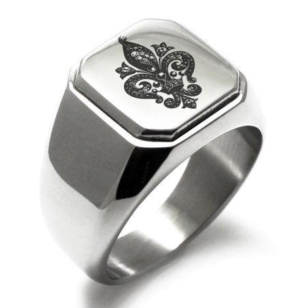 Stainless Steel Crown Fleur De Lis Engraved Square Flat Top Biker Style Polished Signet - Fleur De Lis Crown