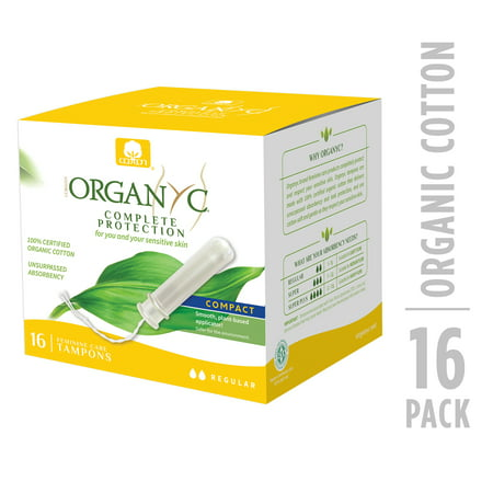 Organyc 100% Certified Organic Cotton Tampons, Normal Flow, with Compact Plant-Based Applicator, 16