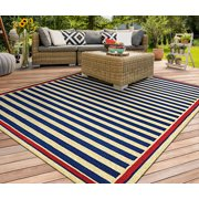 Couristan Covington Nautical Stripes Rug In Navy-Red - (2 Foot x 4 Foot)