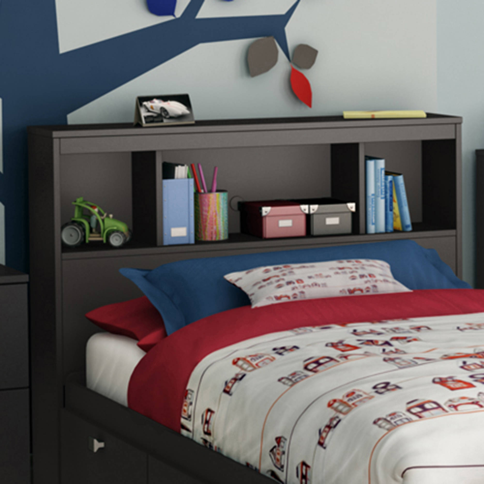 South Shore Spark Bookcase Headboard Twin Black Walmart Com