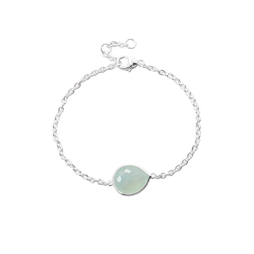 Synthetic Sea Green Freeform Bracelet Adjustable Length Sterling Silver with Nontarnish Rhodium by unknown