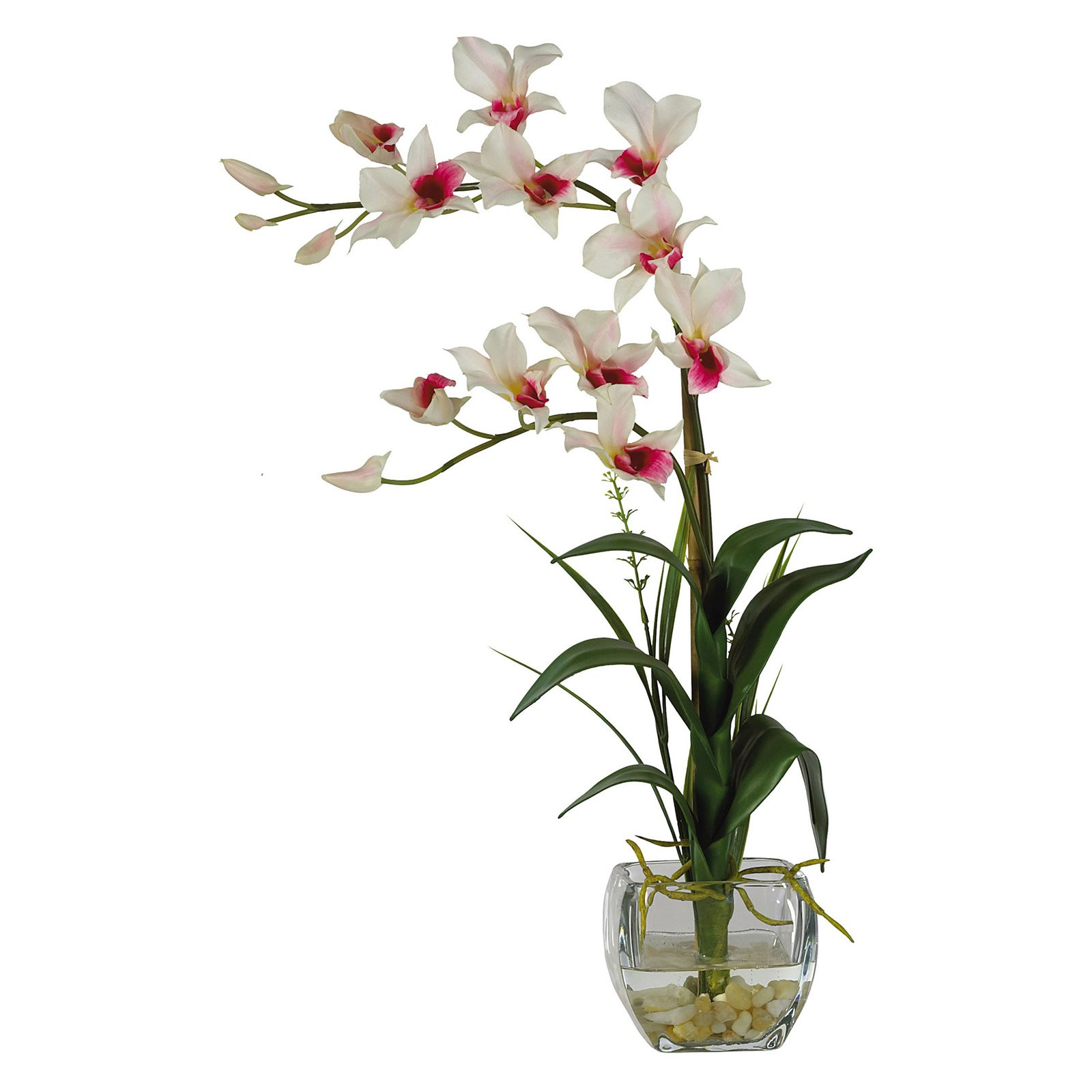 225 & Nearly Natural Dendrobium with Glass Vase Silk Flower Arrangement White