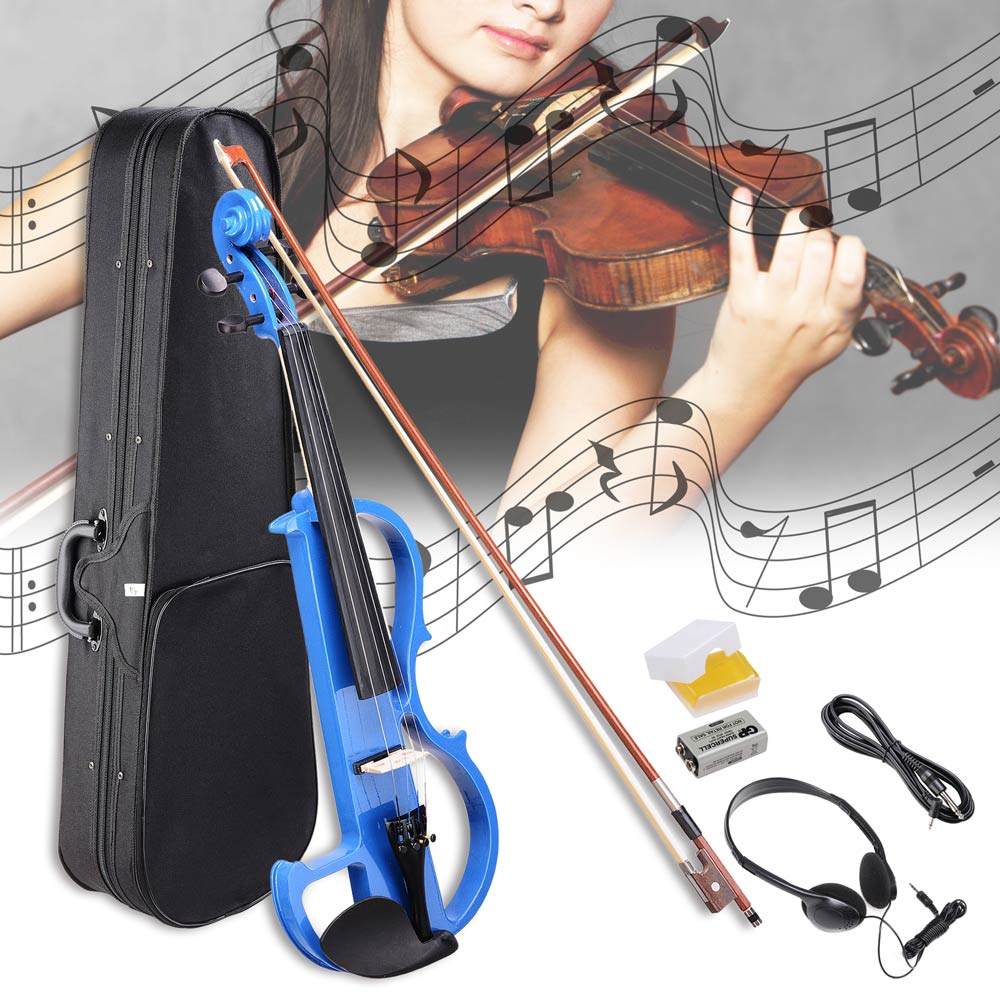 4/4 Electric Violin Full Size Wood Silent Fiddle Musical Instrument Fittings Headphone Bow Case Color Opt