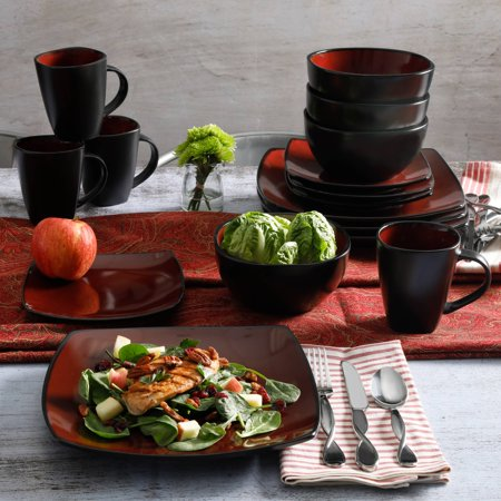 China Platinum Dinnerware Set (Gibson Home Soho Lounge Square Stoneware 16-piece Dinnerware Set)