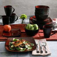 Gibson Home Soho Lounge Square Stoneware Plates, 16pc, Multiple Colors